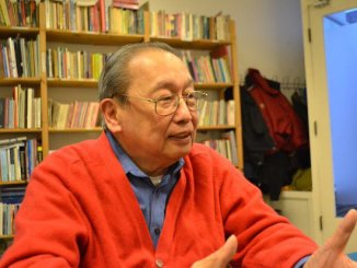 National Democratic Front (NDF) chief political consultant Jose Maria Sison talks to Philippine media at the NDF office in Utrecht in December 2015. Photo by Kristine Angeli Sabillo/INQUIRER.net