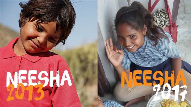 Neesha, who was with us from day one in 2010, seen here on the left in 2013, and then 2017 on the right