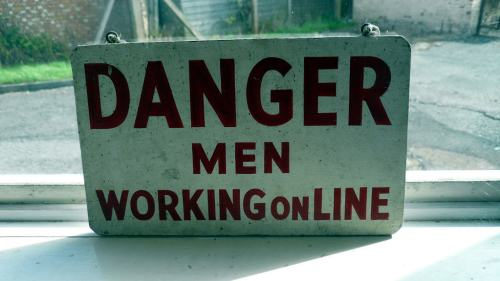 Danger Men Working Online sign, Bletchley Park, Bletchley, UK.JPG