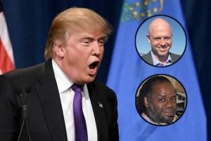 Donald Trump; James Edwards, top right; and Karanja Ajanaku. (Credit: TheWrap.com)