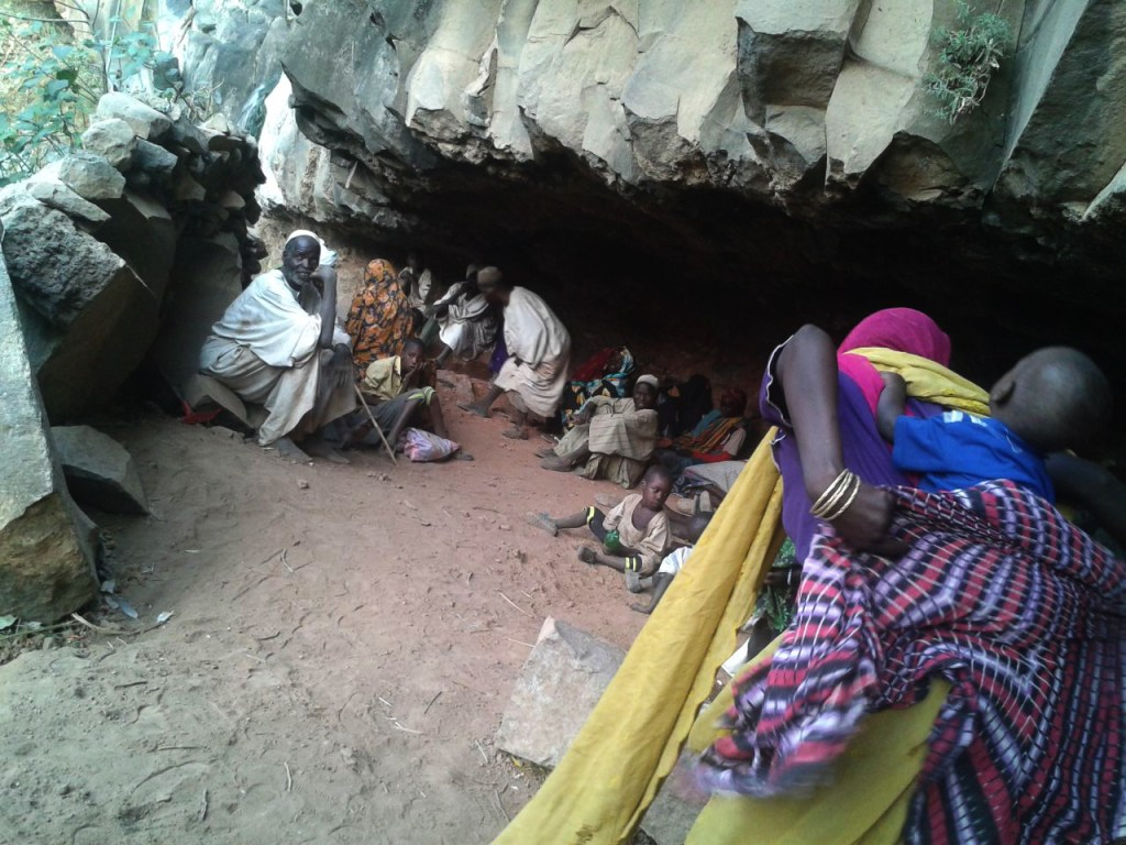 Displaced civilians hiding in the caves in the western part of the Jebel Marra massif in February (Credit: Radio Dabanga)