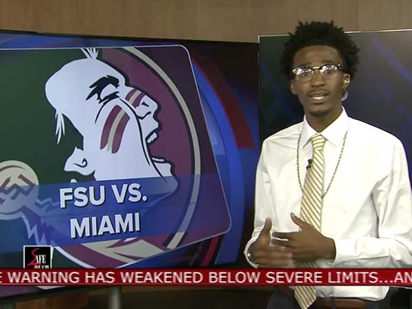 During the 6 p.m. newscast on Tallahassee's WCTV, the 6 p.m. newscast, sportscaster Asher Wildman gave BJ Johnson a chance to live his dream. (screenshot)