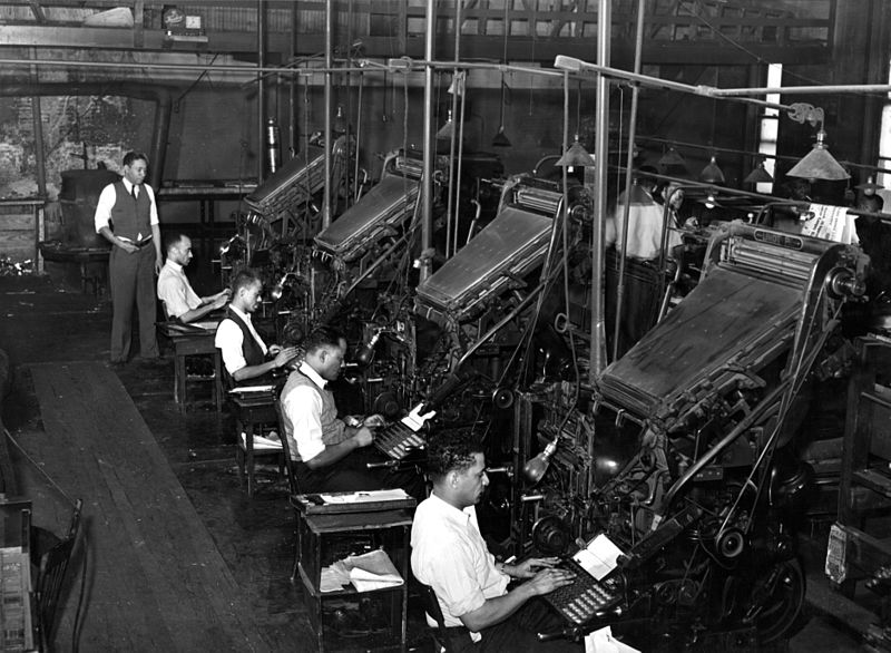 This 1941 photo of linotype operators at the Chicago Defender illustrated Ta-Nehisi Coates' blog posting on the role of black journalists. (Credit: Russell Lee/Library of Congress)
