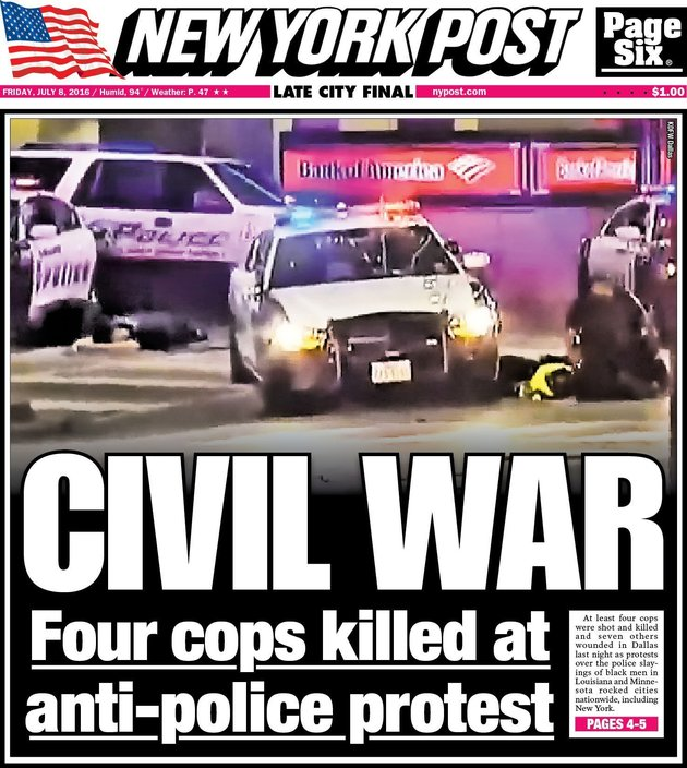 "Friday's New York Post framed Thursday night's demonstration in Dallas, a response to two high-profile police shootings of black men killed in recent days, as an ""anti-police protest."""