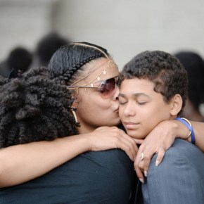 Mourners embrace before services for Philando Castile in St. Paul, Minn., on Thursday. (Credit: St. Paul Pioneer Press)