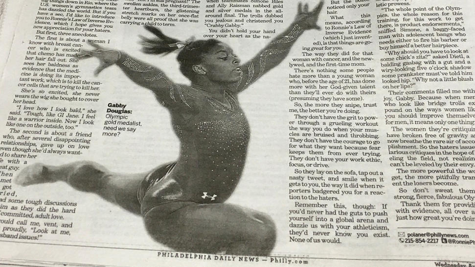 """Editor Michael Days tweeted, """"We ran a photo of @Simone_Biles with an uplifting column today about Gabby Douglas. We screwed up. We are embarrassed, and we apologize."""""""