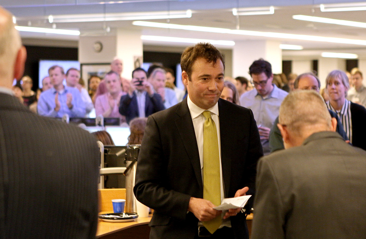 William Lewis addresses the staff of the Wall Street Journal in January 2014 after being named interim CEO of Dow Jones & Co. (Credit: Parker Eshelman/Wall Street Journal)