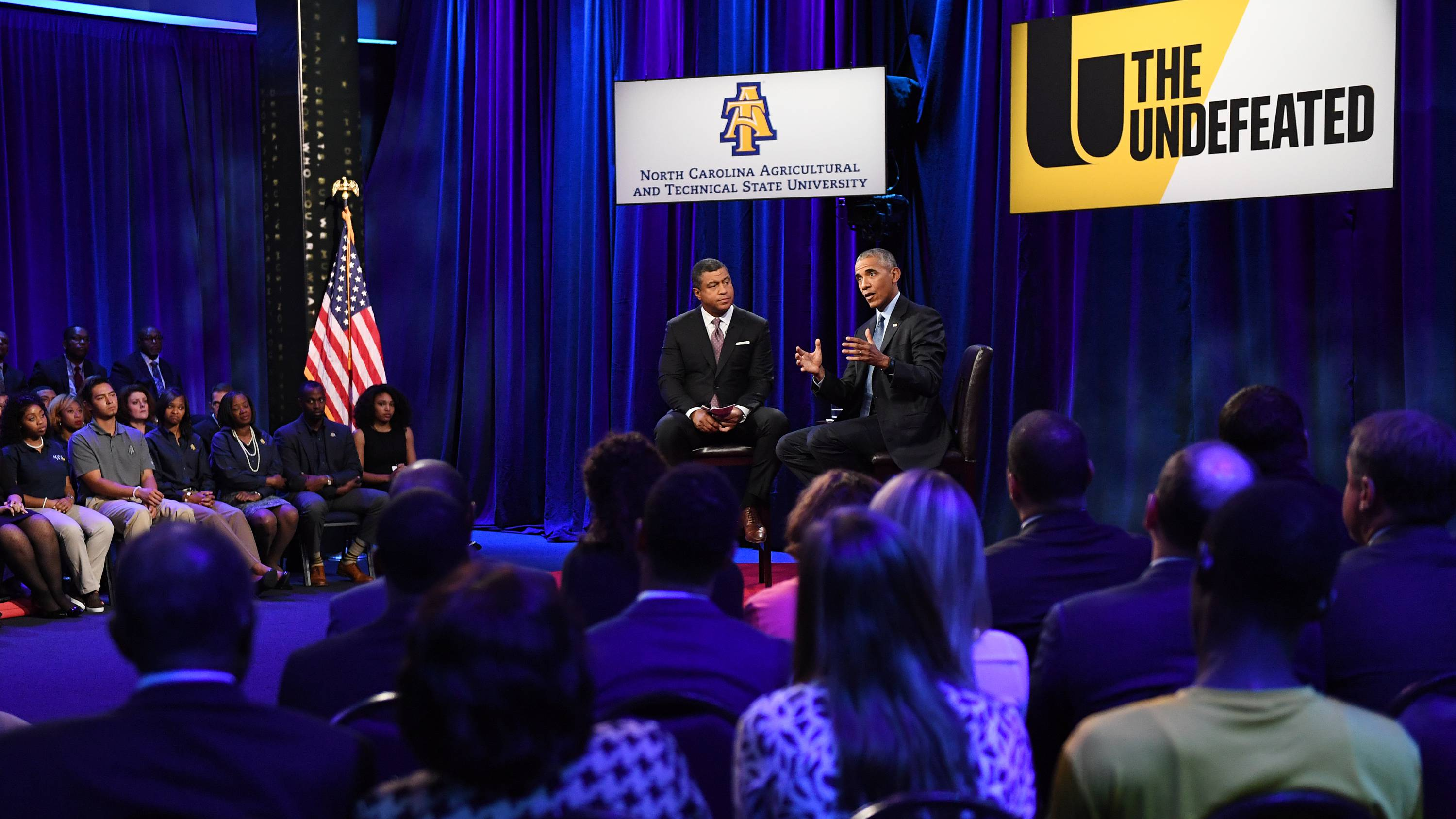 "President Obama and ESPN ""SportsCenter"" anchor Stan Verrett, who hosted and moderated the town hall in Greensboro, N.C. ""ESPN's The Undefeated, a website devoted to sports, race, culture and historically black colleges and universities, has picked A&T specifically because of its size — it's the largest HBCU in the country — and prestige,"" John Newsome reported for the News & Record in Greensboro."