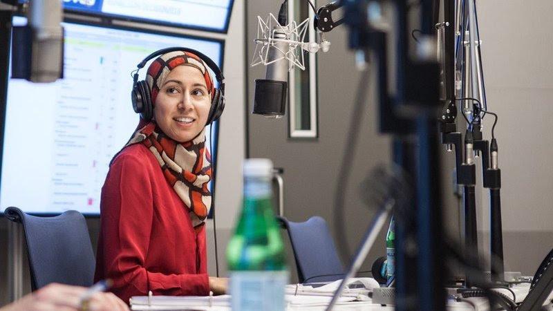 NPR reporter Asma Khalid during a live broadcast. (Credit: Ariel Zambelich/NPR)