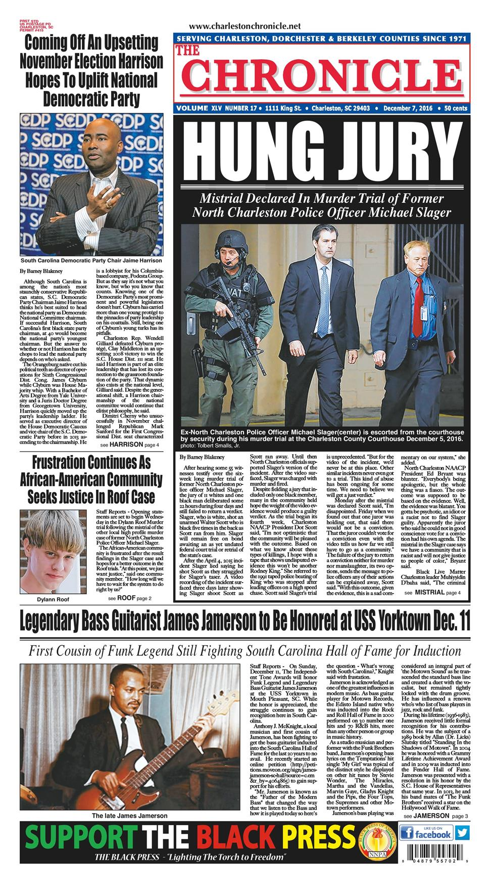 The Charleston Chronicle, an African American newspaper, reports Wednesday on the mistrial.