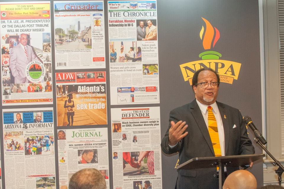 Benjamin C. Chavis Jr., shown at a September meeting of the Journalists Roundtable in Washington, was promised the first post-Inauguration interview with Donald J. Trump. (Credit: George Tolbert IV)