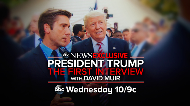 "David Muir's ""wide-ranging one-on-one interview at the White House will air across ABC news shows. (Credit: ABC News)"