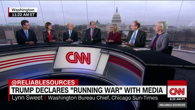 "An all-white panel discussed President Donald J. Trump and the media on CNN's ""Reliable Sources"" on Sunday: Frank Sesno, former CNN White House correspondent and Washington bureau chief; Karen Tumulty of the Washington Post; Jeff Mason of Reuters, president of the White House Correspondents' Association; host Brian Stelter; Lynn Sweet, Chicago Sun-Times Washington bureau chief; Michael Oreskes, senior vice president of news and editorial director at NPR; and Martha Kumar, director of the White House transition project. (Credit: CNN)"