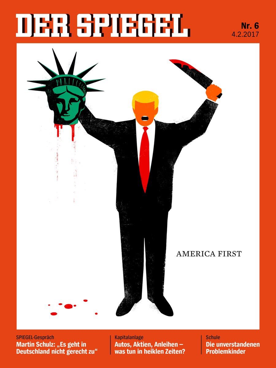 "President Trump is depicted beheading the Statue of Liberty in this illustration on the cover of the latest issue of German news magazine Der Spiegel. (Credit: Reuters)"" width=""345"" height=""460"" /> President Trump is depicted beheading the Statue of Liberty in this illustration on the cover of the latest issue of German news magazine Der Spiegel. (Credit: Reuters)"