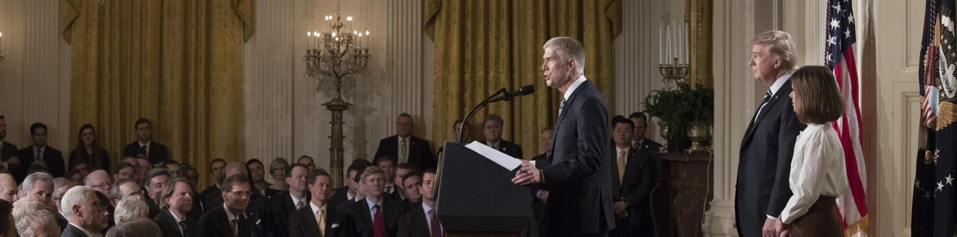 Supreme Court nominee Neil Gorsuch addresses a pale crowd Tuesday as President Trump introduces him. (Credit: Al Jazeera)