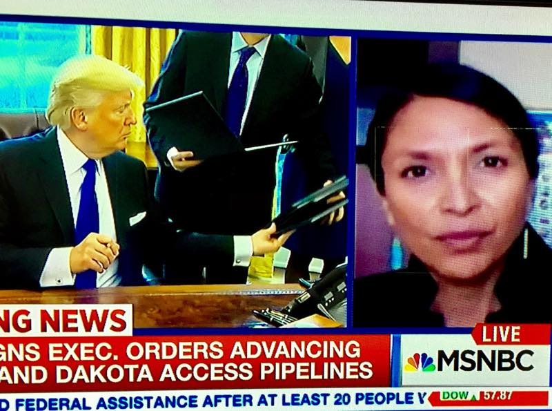 Journalist Jenni Monet speaks with MSNBC about the Dakota Access Pipeline. She was arrested Wednesday while on assignment for Indian Country Media Network. Released on bail, she still faces charges. (Indian Country Today Media Network)
