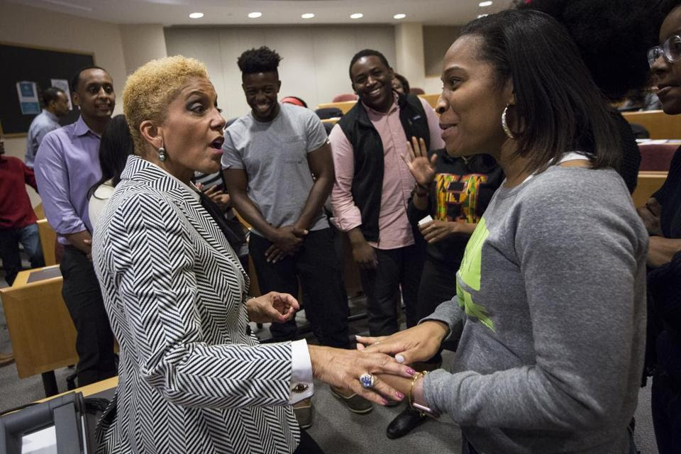 Linda Johnson Rice, of Johnson Publishing Co., visited Harvard University two weeks ago to discuss Ebony's business dilemma. (Credit: Keith Bedford/Boston Globe)