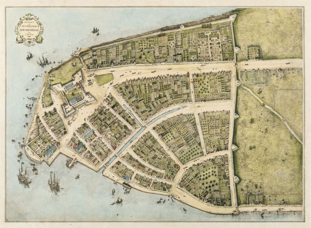 The real Bowling Green Massacre took place in 1643 in New Amsterdam (later New York) and was committed by immigrants of the day: European settlers and soldiers. (Map of New Amsterdam, 1660).