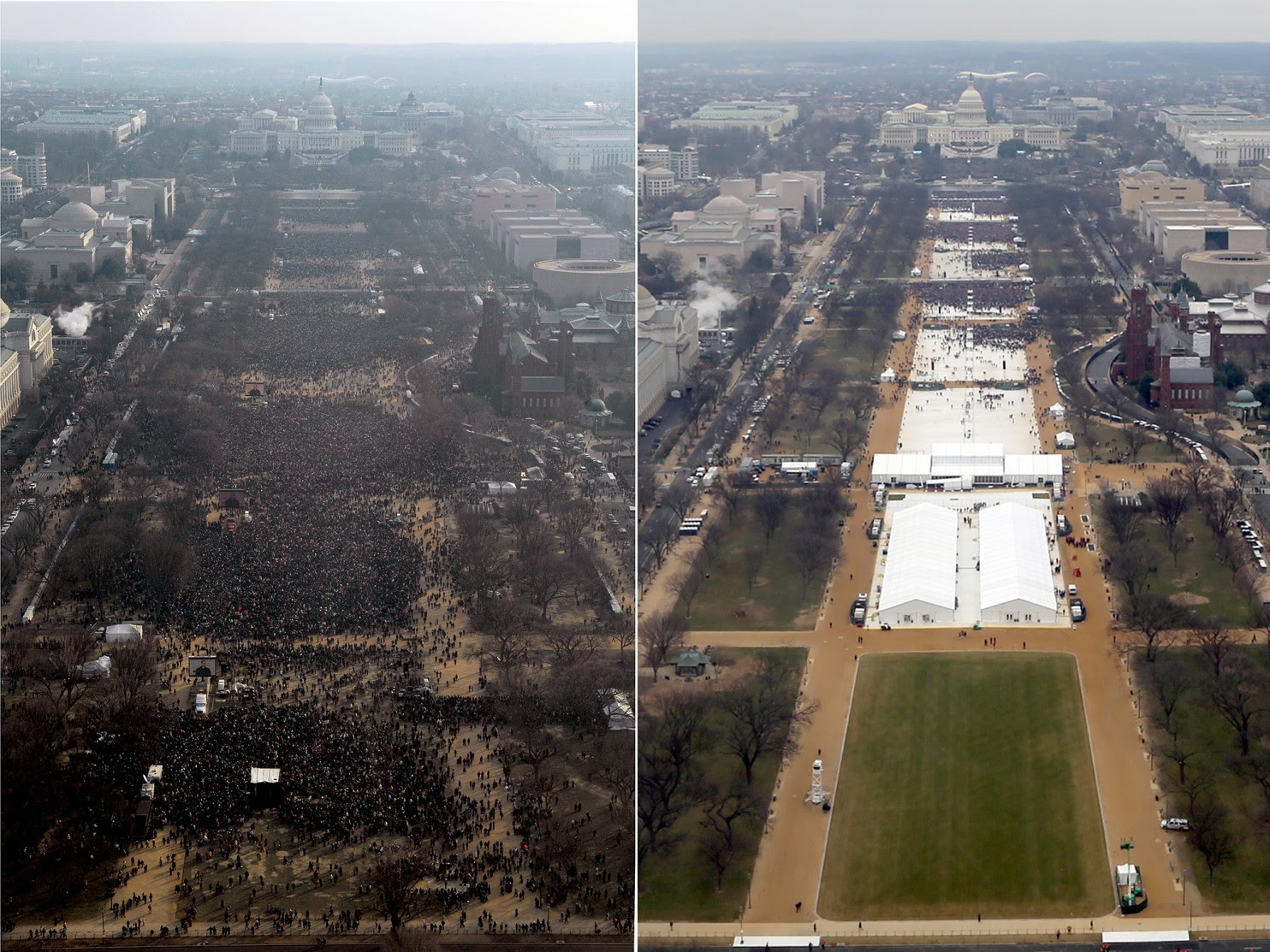 National Park Service photos show Donald Trump's inauguration crowd in January and Barack Obama's in 2009. (Credit: National Park Service)