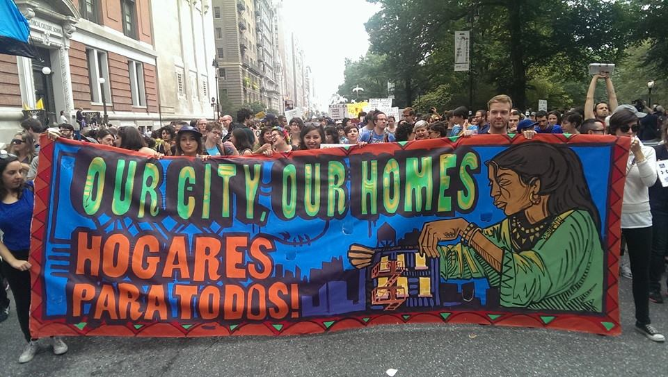 Demonstrators in Brooklyn, N.Y., protest proposed local and federal cuts in housing and urban development aid. (Credit: Right to the City Alliance)