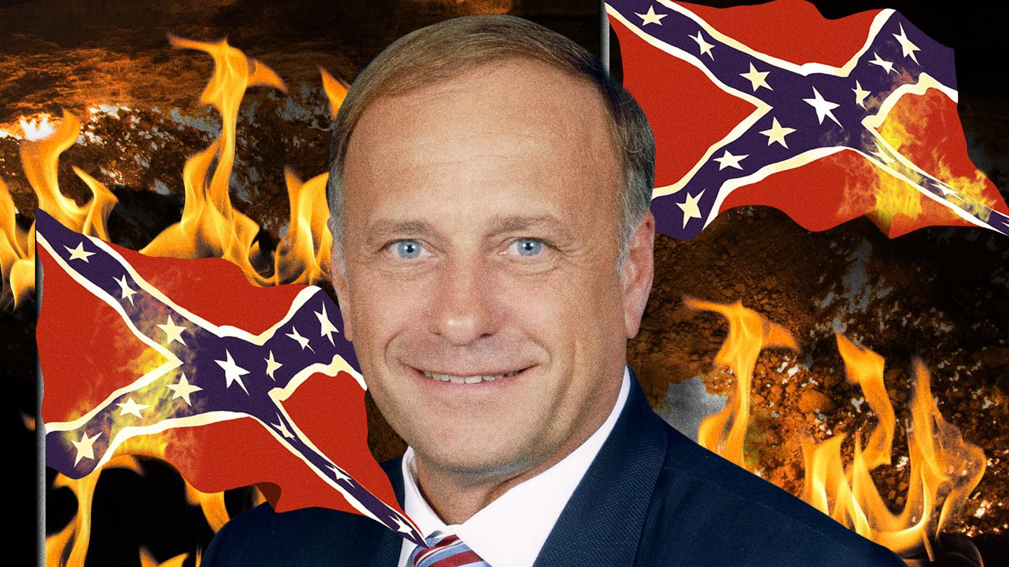 Vice.com depicted Rep. Steve King, R-Iowa, surrounded by burning Confederate battle flags. King has been photographed with Confederate flags among others on his desk. (Credit: vice.com)