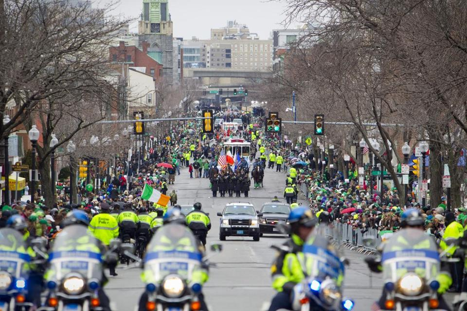 South Boston's famed St. Patrick's Day Parade marched through the neighborhood in 2015. (Credit: Dina Rudick/Boston Globe)