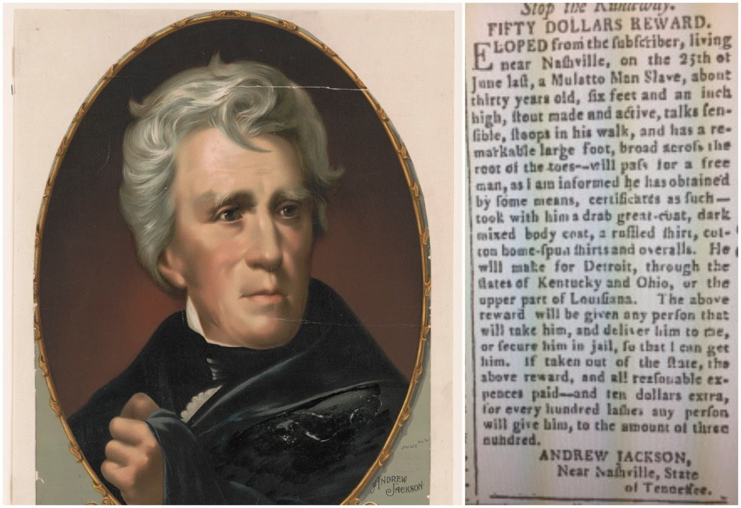 "A runaway slave ad placed by Andrew Jackson in the ""Tennessee Gazette,"" on Oct. 3, 1804. See fourth item. (Credit: (Library of Congress/Tennessee Gazette)"