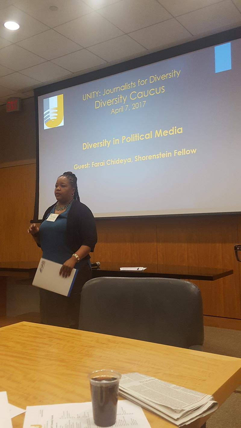 Farai Chideya tells Unity's Diversity Caucus how she self-identifies. (Credit: Unity: Journalists for Diversity)