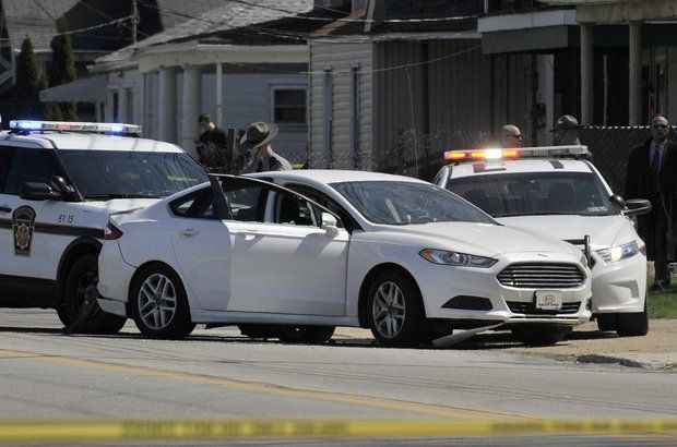 Pennsylvania State Police investigate the scene where Steve Stephens, the suspect in the random killing of a Cleveland retiree posted on Facebook, ended his own life on Tuesday. (Credit: Greg Wohlford/Erie Times-News)