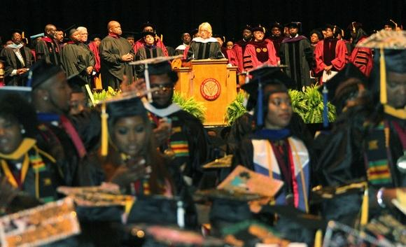 Bethune-Cookman students turn their backs on Education Secretary Betsy DeVos Wednesday at Ocean Center in Daytona Beach, Fla. (Credit: David Tucker/Daytona Beach News-Journal)