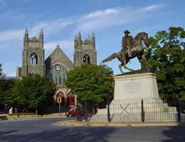 Stuart Circle on Monument Avenue in Richmond, Va., honors Gen. J.E.B. Stuart.