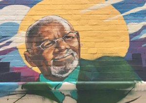 Jim Vance's image on the wall mural outside Ben's Chile Bowl.