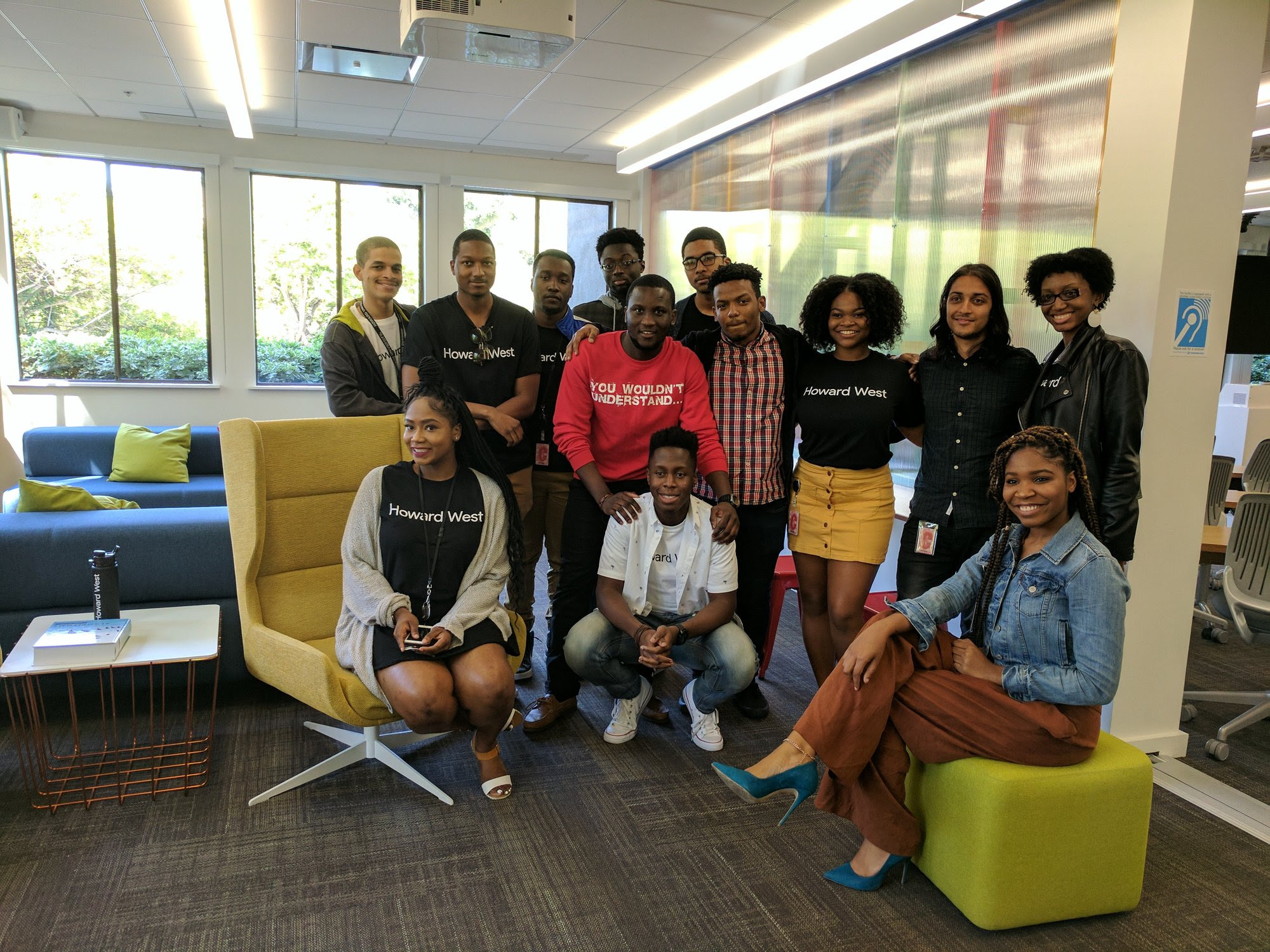 Google has launched Howard West, a three-month engineering residency on its campus for Howard University computer science majors. The students are shown in at the Googleplex. (Credit: Google)