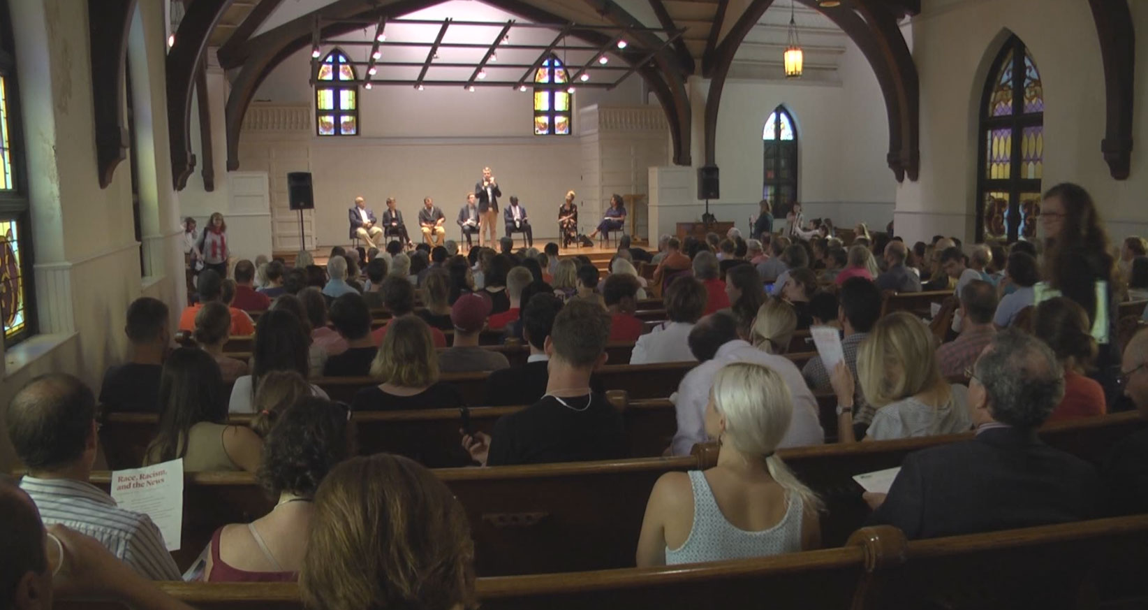 Monday's panel in Charlottesville, Va., on how journalists cover race and racism in American communities was sponsored by Columbia Journalism Review, the Center for Media and Citizenship, C-VILLE Weekly, and Charlottesville Tomorrow. (Credit: WVIR-TV)