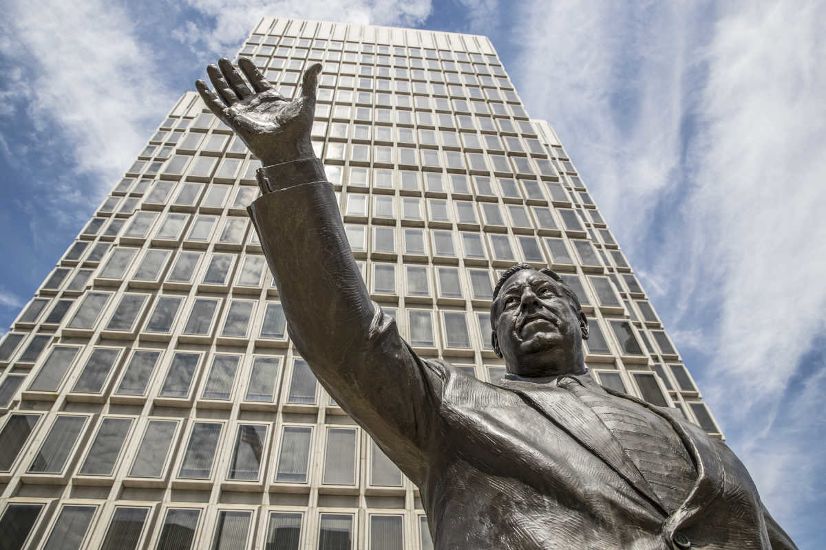 The statue of former Philadelphia mayor Frank Rizzo stands across from Philadelphia city hall. There is now a movement to have the statue removed. (Credit: Michael Bryant/Philadelphia Daily News)