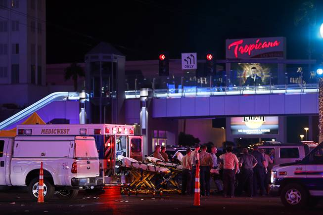Medical workers stage in the intersection of Tropicana Avenue and Las Vegas Boulevard South after a mass shooting at a music festival on the Las Vegas Strip on Sunday (Credit: Steve Marcus/Las Vegas Sun)