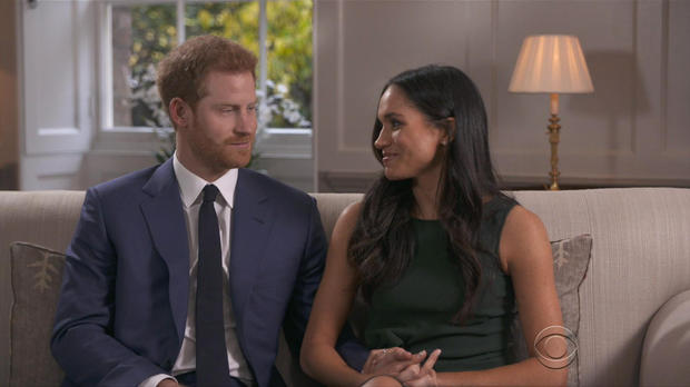 Prince Harry and Meghan Markle discuss their engagement. Credit: CBS News)