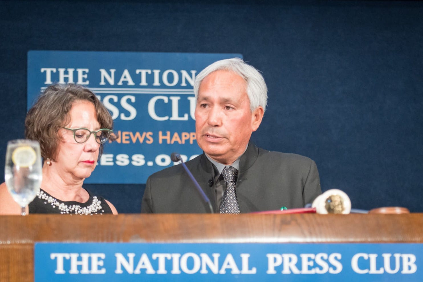 Emilio Gutierrez with Michele Salcedo of the Associated Press at the National Press Club in October. (Credit: Noel St. John/National Press Club)