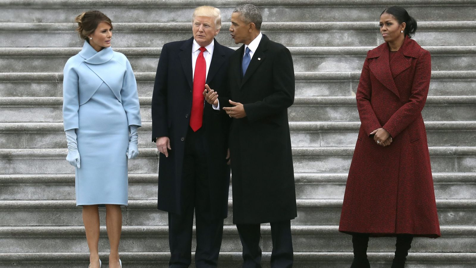 Melania and Donald Trump with Barack and Michelle Obama at Trump's inauguration last January (Credit: Pool photo)