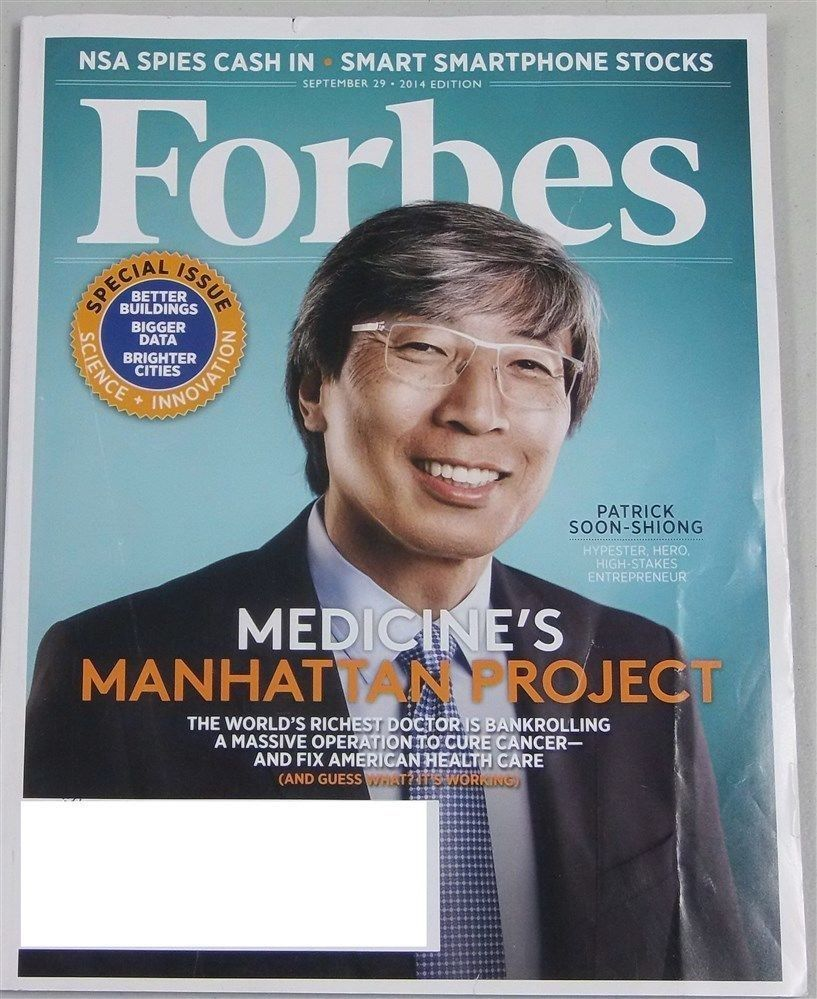 Patrick Soon-Shiong, Forbes magazine's Sept. 29, 2014, cover story