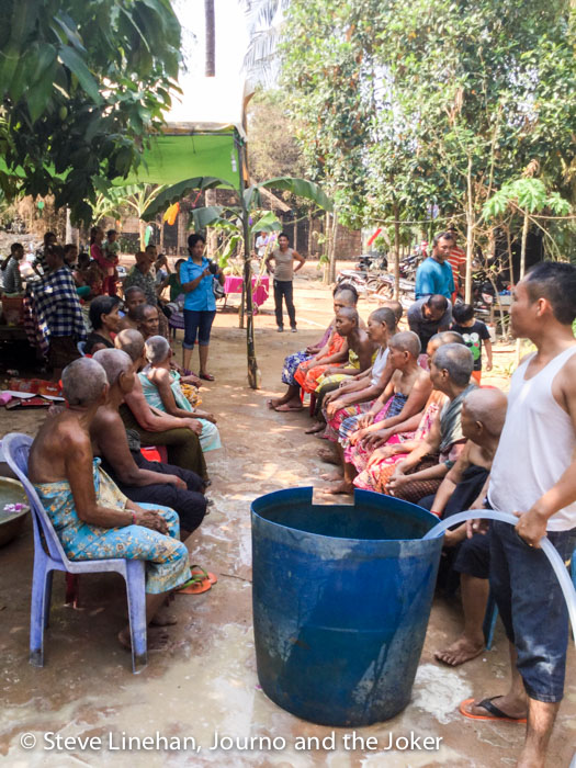 Washing the grandparents for Khmer New Year celebrations