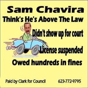 Chavira speeding campaign sign LT YELLOW June 6 2016