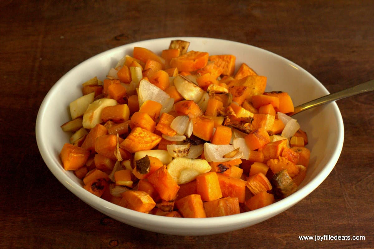 Roasted Root Vegetables - THM E - butternut squash, parsnips, sweet potatoes, and onions