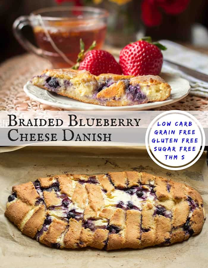 My Braided Blueberry Cheese Danish has golden dough, a ton of cream cheese filling, & pops of blueberries. It is low carb, grain-gluten-sugar free, & THM S. (1)