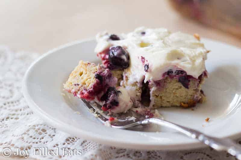 Triple Berry Cake with Fluffy Cream Cheese Icing - Low Carb, Sugar Free, Grain Free, THM S