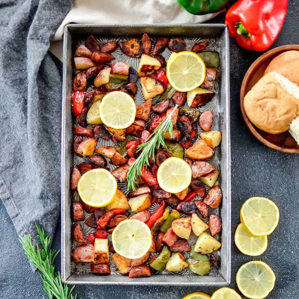 Dining Peppers Oven Recipe Sausage Sheet Pan Roasted Potatoes Sausage Peppers Recipe Gluten Free Paleo 2 Sausage Peppers Oven No Sauce nice food Sausage And Peppers In Oven
