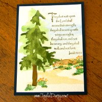RUBBER STAMPED CARD - Inspiring Watercolor Tree Scene