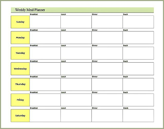 Printable Weekly Meal Planner Template free menu planner