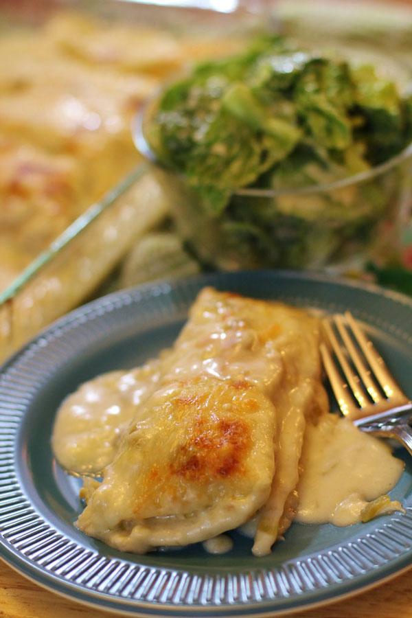 Chicken Enchiladas with Green Chili Sour Cream Sauce