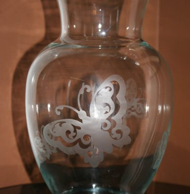 Glass Etch Butterfly Vase Using Cricut Wall Decor and More